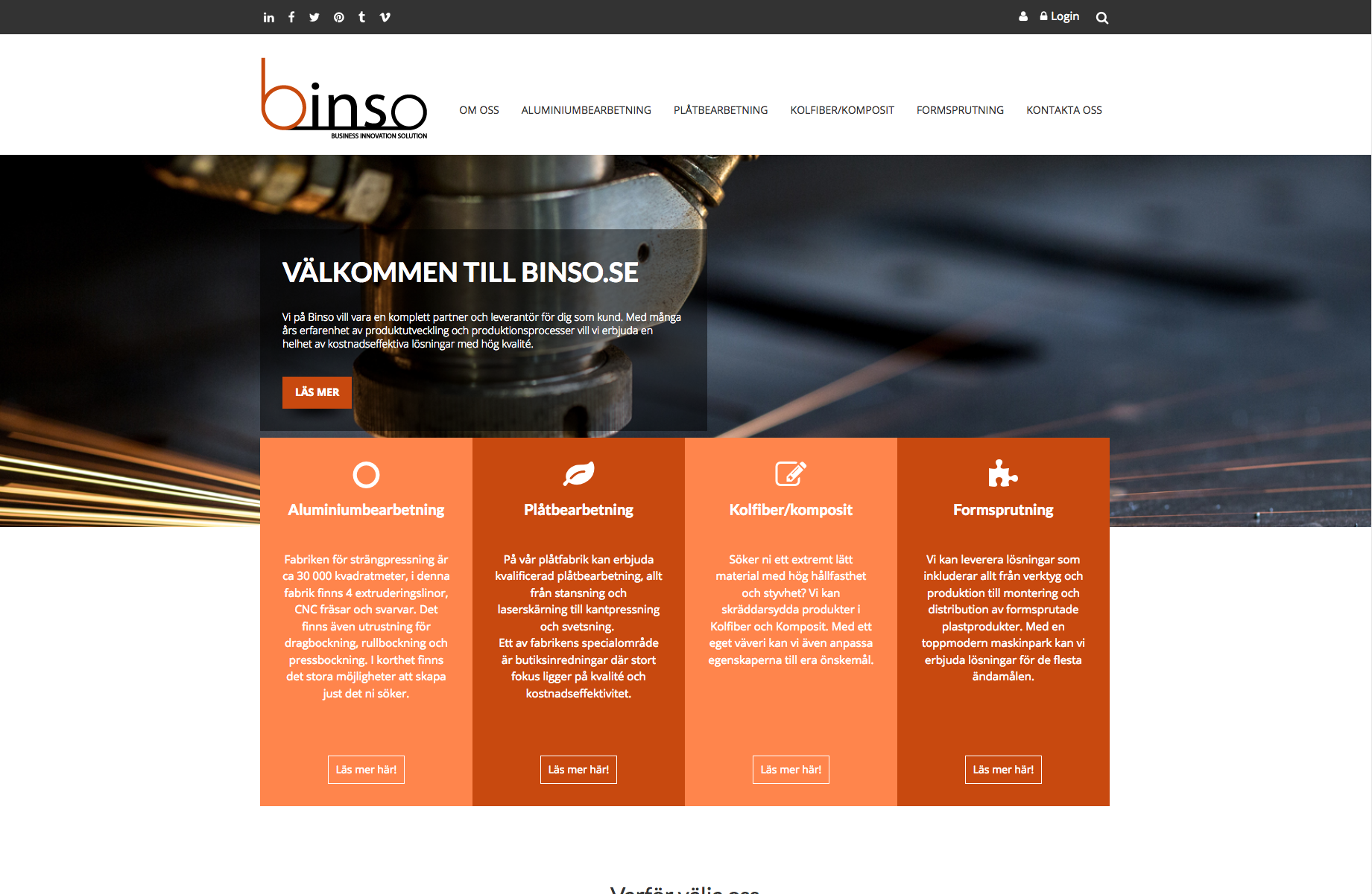 Ny hemsida till nystartade Binso