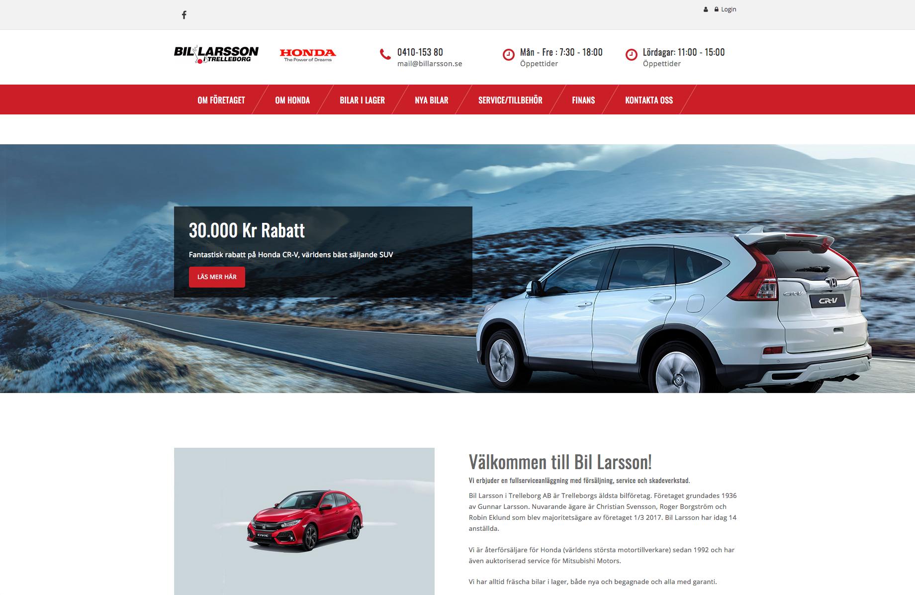 Nya hemsidor till Honda återförsäljare