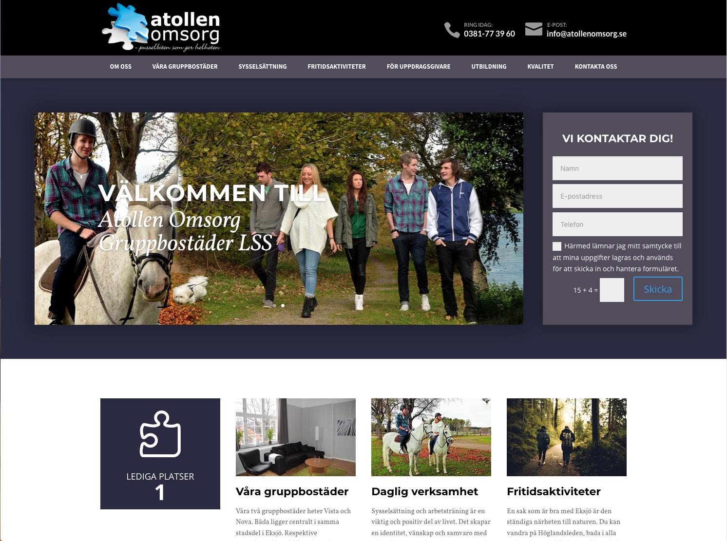 Atollen Omsorg´s nya hemsida är publicerad