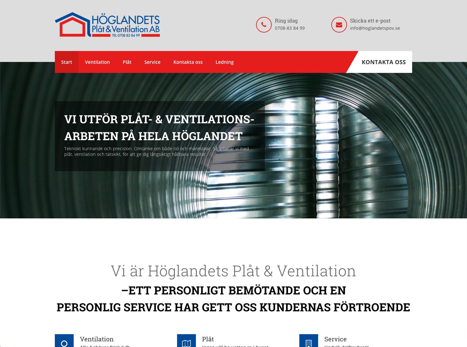 Ny hemsida till Höglandets Plåt & Ventilation AB